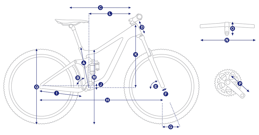 bike diagram with measurements referenced in table that follows